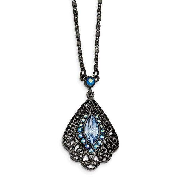 Blacktone Blue Glass & Acrylic Necklace - 16in