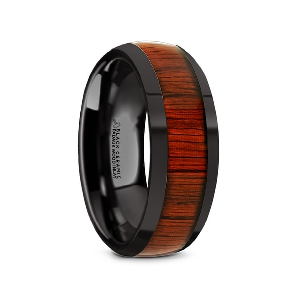 Titanium Rings for Men Lightweight Titanium Titanium Polished Beveled Edges Padauk Wood Inlaid Men/'s Wedding Band Thorsten Norro Comfort Fit 8 mm
