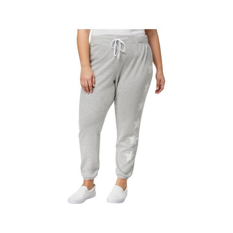 Almost Famous Womens Plus Jogger Pants Printed Athleisure