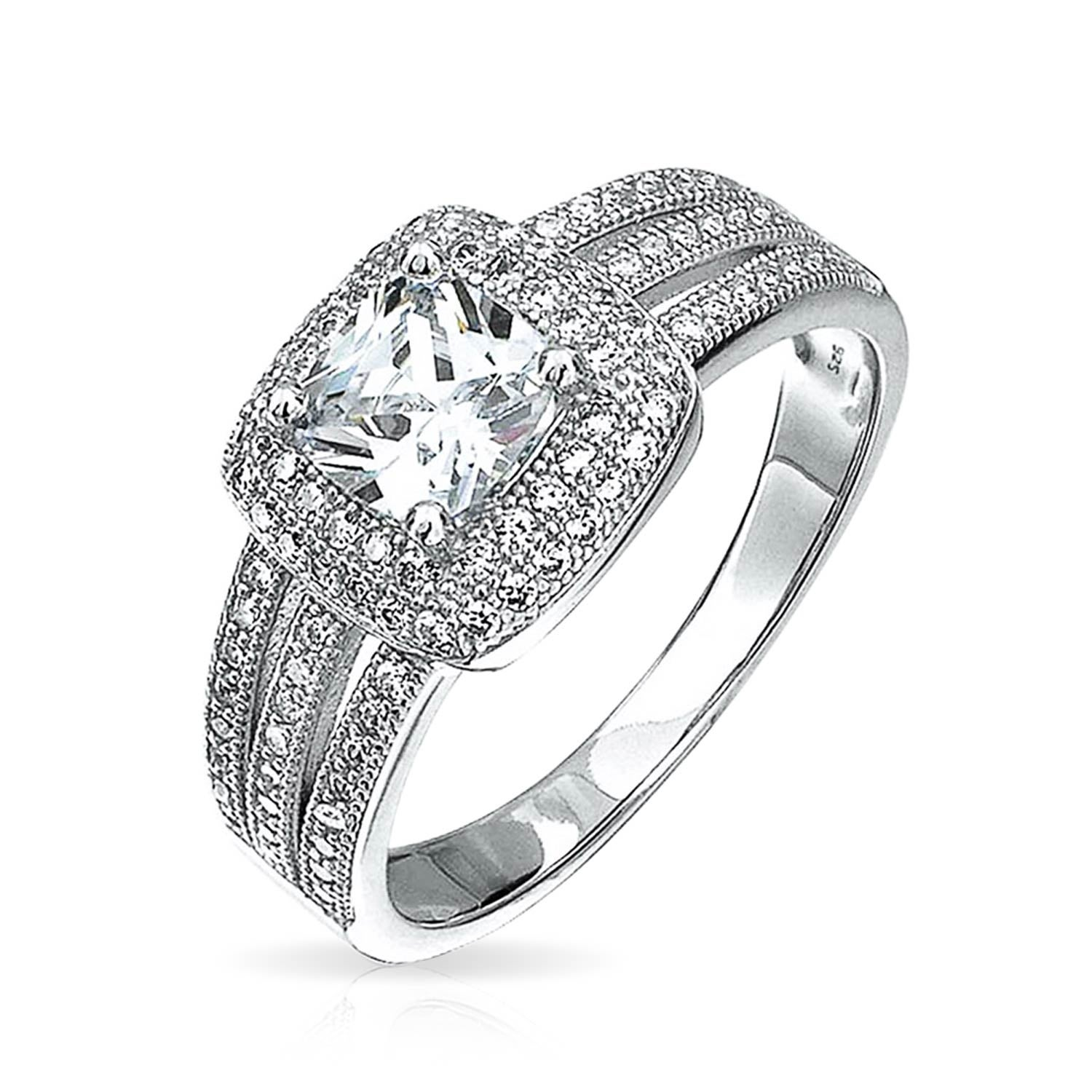 2ct Square Cushion Cut Solitaire Halo Aaa Cz Engagement Ring For Women Micropave Triple Shank Band 925 Sterling Silver