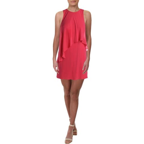 Lauren Ralph Lauren Womens Petites Lonia Party Dress Georgette Tiered - Starfruit