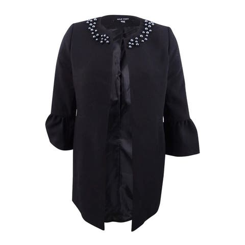 Nine West Women's Plus Size Jewel-Neck Flyaway Blazer (20W, Black) - Black - 20W