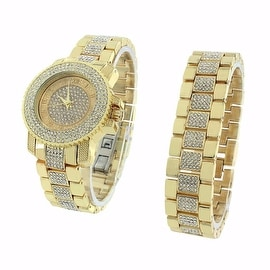 Gold Finish Watch & Bracelet Set Iced Out Lab Diamonds Stainless Steel Back Analog Display