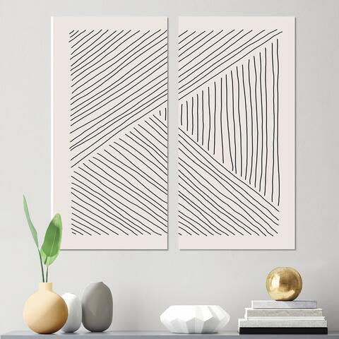 Designart 'Minimal Geometric Lines II' Modern Canvas Wall Art Print 2 Piece Set