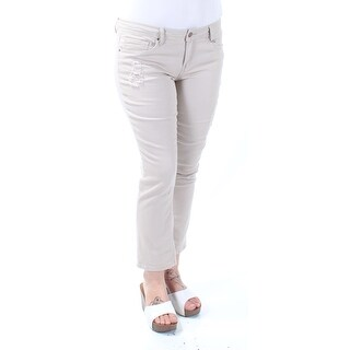 DOLLHOUSE $50 Womens New 1100 Beige Frayed Skinny, Capri Pants Juniors 15 B+B