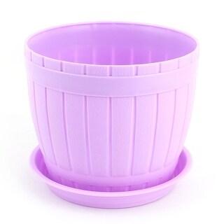 Office Plastic Cask Shaped Desk Decor Plant Flower Planting Holder Pot Purple