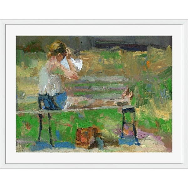 """40"""" x 32"""" Blue and Green Reclining On Park Bench Printed Rectangular Wall Art Decor - N/A"""