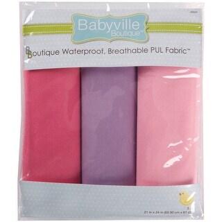 "Babyville PUL Waterproof Diaper Fabric 21""X24"" Cuts 3/Pkg-Gi - girl solids"