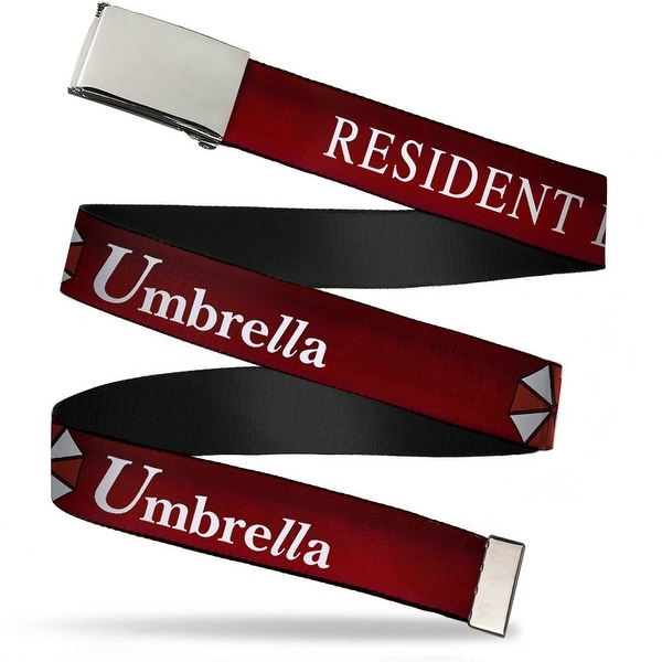 Blank Chrome Buckle Resident Evil Umbrella Red White Webbing Web Belt
