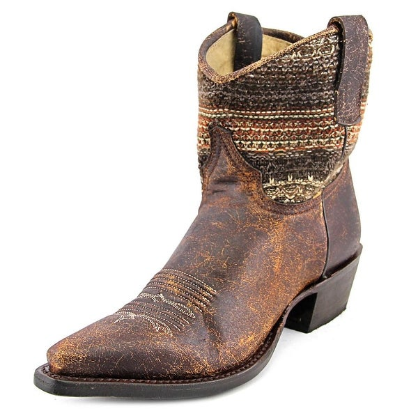 Roper Avril Shorty Women Square Toe Leather Brown Western Boot