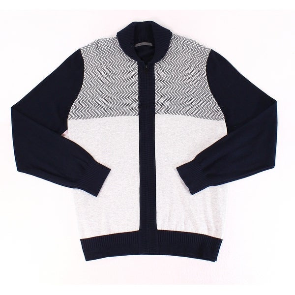f0858a17621801 Shop Sean John Blue Mens Full Zip Colorblock Knit Sweater - Free Shipping  On Orders Over $45 - Overstock.com - 27021105