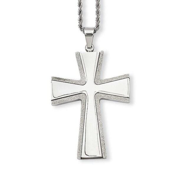 Stainless Steel Diamond Cut & Laser Cross Pendant 24in Necklace (2 mm) - 24 in