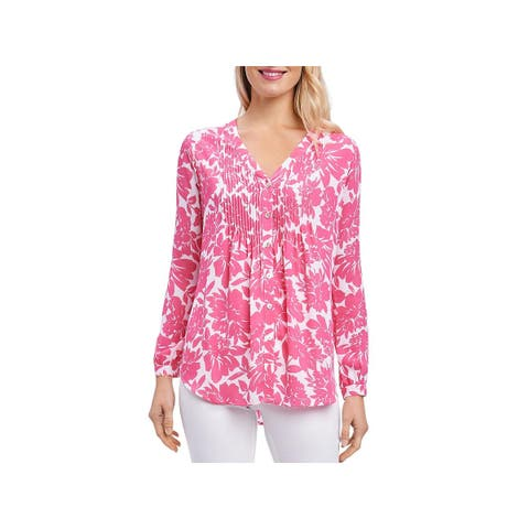 Foxcroft Womens Mindy Button-Down Top Floral Print V-Neck