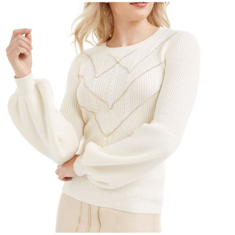 Guess Women's Sweater White Ivory Size Medium M Bling Front Pullover