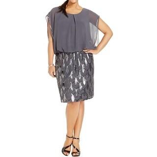 SLNY Womens Plus Party Dress Sequined Blouson