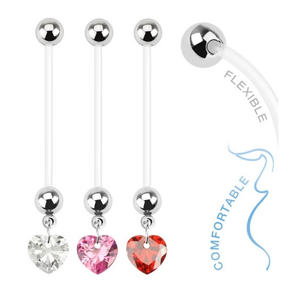 Heart Gem Dangle Bio Flex Pregnancy Navel Belly Button Ring