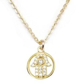 Julieta Jewelry Hamsa Hand Halo CZ Charm Necklace