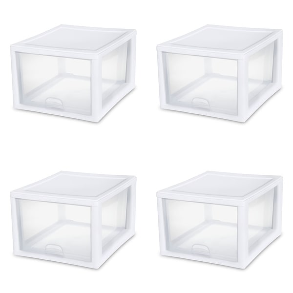 "Case of 4 Sterilite 27 Quart Stacking Drawers - 17.38"" wide. Opens flyout."