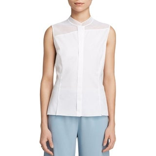 Elie Tahari Womens Blouse Cut-Out Button Down