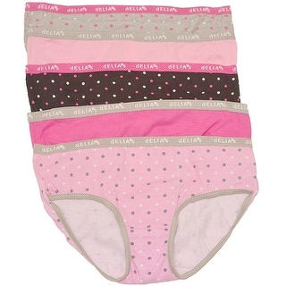 Girls Pink Brown Gray Polka Dot Solid Color 5 Pc Underwear Pack