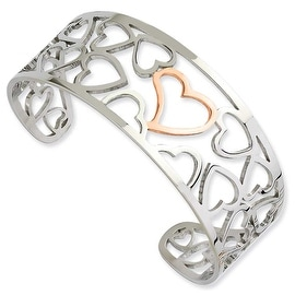 Chisel Stainless Steel Polished & Chocolate Plated Hearts Cuff Bangle