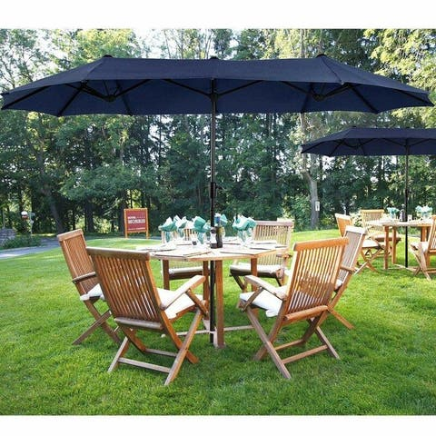 PHI VILLA 13ft Outdoor Market Umbrella Double-Sided Twin Large Patio Umbrella with Crank, Navy Blue, Red & Beige