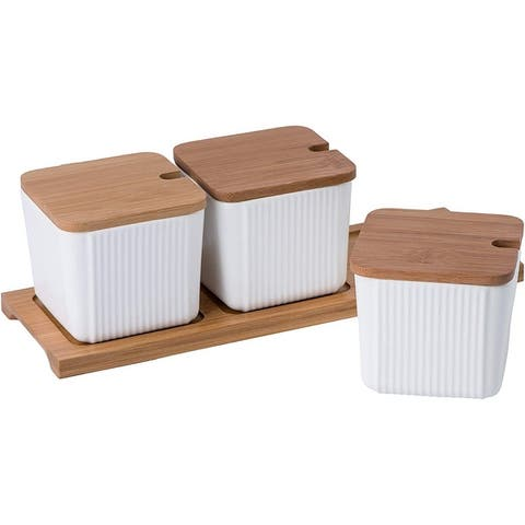 Bruntmor 3 Pcs Kitchen Canister Set, Coffee, Sugar, and Tea Storage Jars, Ceramic Spice Container with Bamboo Lid And Spoons
