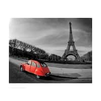 ''Red in Motion by the Eiffel Tower'' by Anon Transportation Art Print (13.5 x 17 in.)