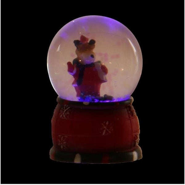 "2.75"" Red and White Reindeer LED Lighted Christmas Snow Globe Glitterdome"