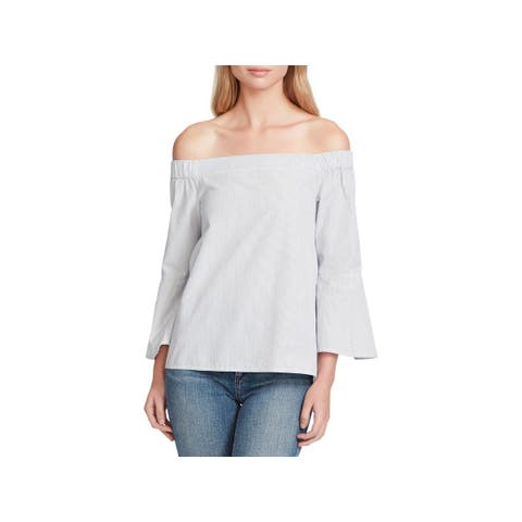 Jessica Simpson Womens Pauline Casual Top Striped Off-The-Shoulder