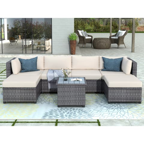 Nestfair 7 Piece Rattan Sectional Seating Set with Cushions