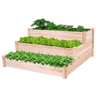 Gymax Outdoor Garden 3 Tier Wooden Elevated Raised Vegetable Planter Gardening Kit