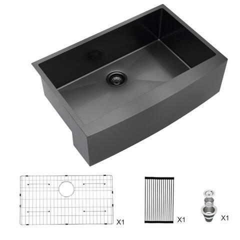 Lordear 30 Inch Matte Black Farmhouse Kitchen Sink Apron Front Sink Stainless Steel