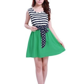 Lady Elastic Waist Sleeveless Sash Stripe Dress Dark Blue Green XS