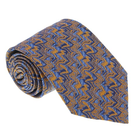 Missoni U5096 Gold/Blue Novelty 100% Silk Tie - 60-3