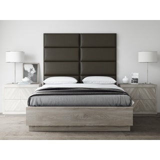 VANT Upholstered Headboards - Accent Wall Panels - Vintage Leather Saddle Brown - 30 Inch Queen-Full - Set of 4 panels.