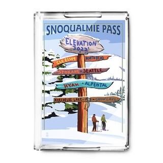 Snoqualmie Pass, Washington - Ski Signpost - Lantern Press Artwork (Acrylic Serving Tray)