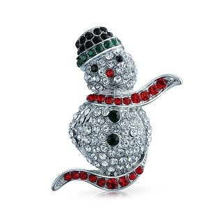 Bling Jewelry Crystal Holiday Happy Snowman Brooch Pin Rhodium Plated