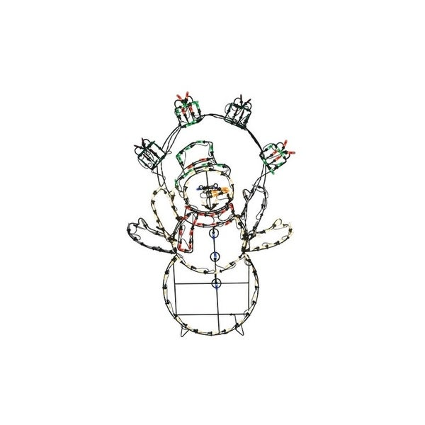 "42"" Pre-Lit Multi-Color LED Animotion Snowman with Gifts Christmas Outdoor Decoration"