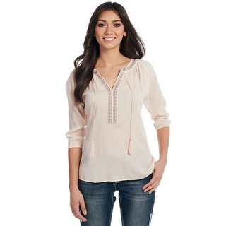Cowgirl Up Western Shirt Womens Peasant Tassels Embroidered CG60806