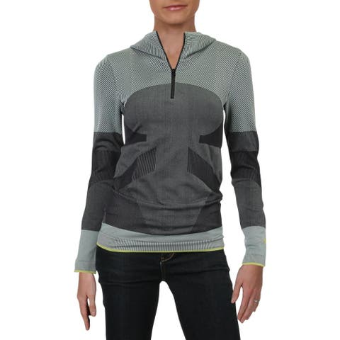 Adidas Stella McCartney Womens Pullover Top Quick Dry Fitness - Black/Frost Grey