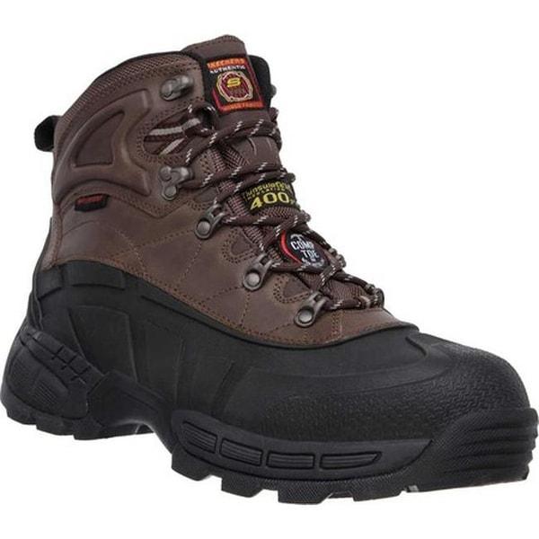 416b5c552e870 Skechers Men's Work Radford WP Composite Toe Ankle Boot Black/Brown