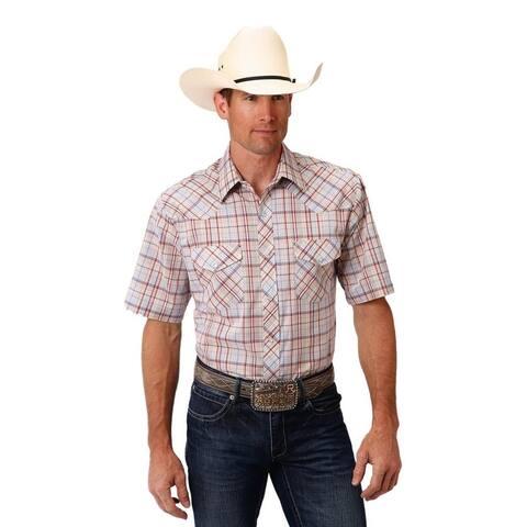 Roper Western Shirt Mens S/S Plaid Snap Tan