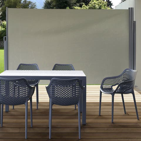 Sunnydaze Patio Retractable Privacy Wall Folding Divider - 10 x 6 Feet Grey