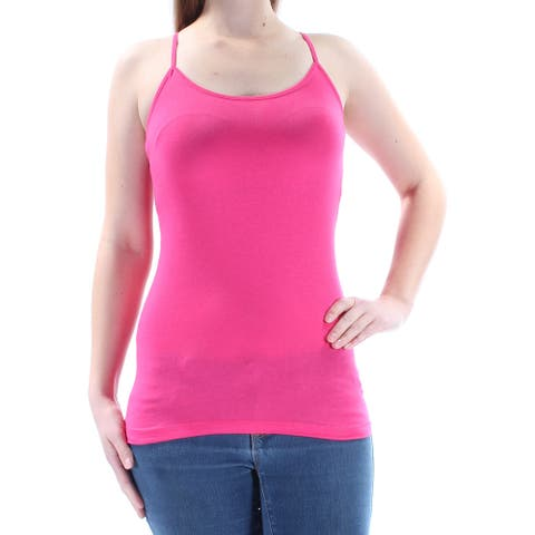PLANET GOLD Womens Pink Spaghetti Strap Scoop Neck Top Size: M