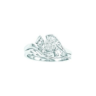 14k White Gold Round Diamond Cluster Womens Bridal Wedding Engagement Ring Wedding Band Set 1/3 Cttw