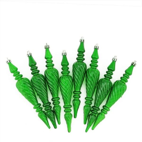 "8ct Xmas Green Transparent Spiral Shatterproof Christmas Finial Ornaments 7"" (180mm)"