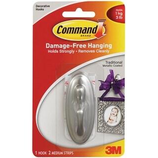 Command Medium Decorative Hooks-Brushed Nickel 1 Hook & 2 Strips