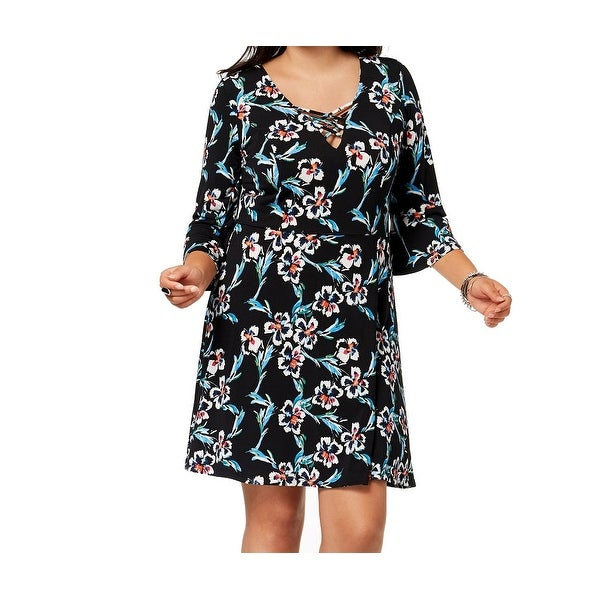5d0d2156c56 Shop Fox Royal Black Womens Size 3X Plus Floral 3 4 Sleeve A-Line Dress -  Free Shipping On Orders Over  45 - Overstock - 27431589