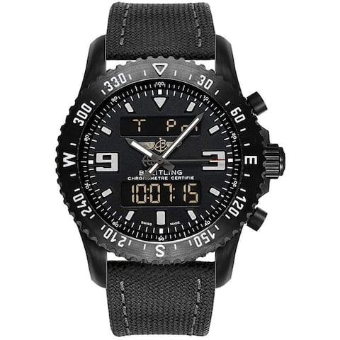 Breitling Men's M7836710-BG34-100W 'Chronospace Military' Grey Canvas Watch - Black